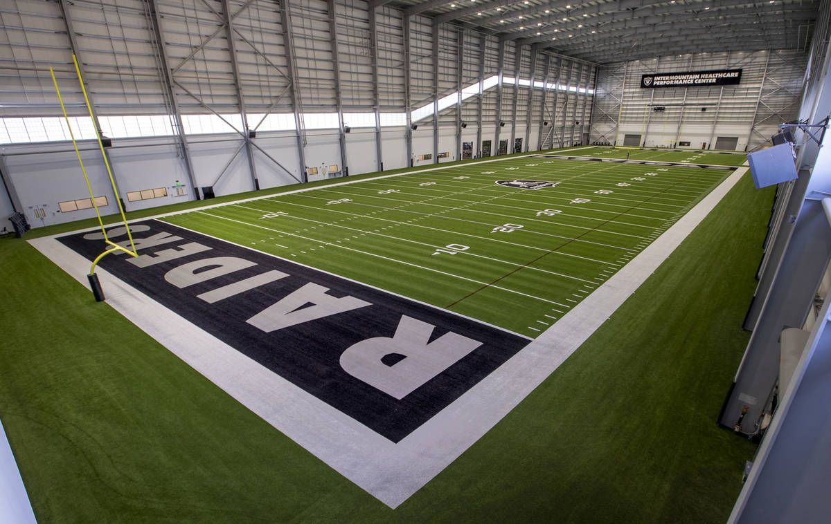 A second-floor view of the indoor practice field within the Las Vegas Raiders headquarters on W ...