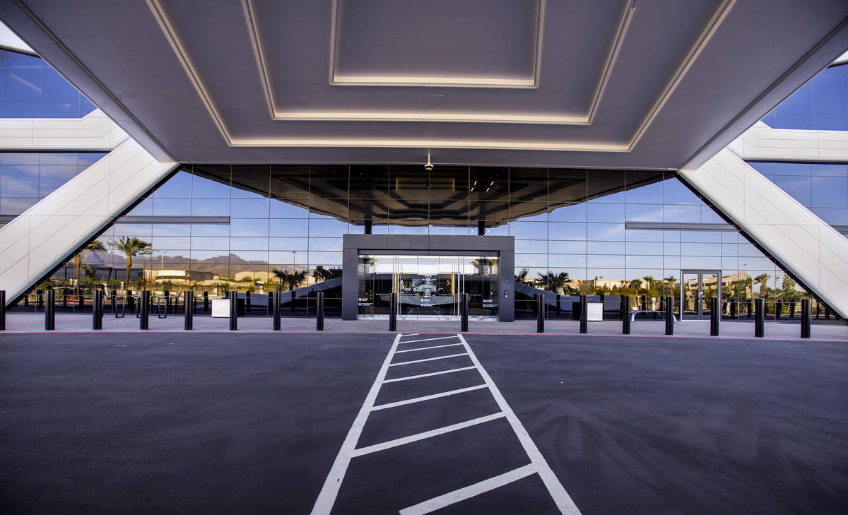 The front entrance of the Las Vegas Raiders headquarters on Wednesday, April 14, 2021 in Hender ...