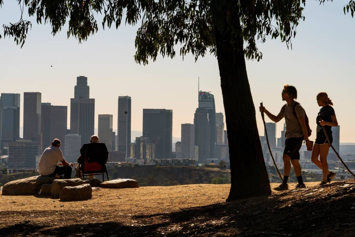 People overlook the skyline of Los Angeles in January 2021. (AP Photo/Damian Dovarganes)