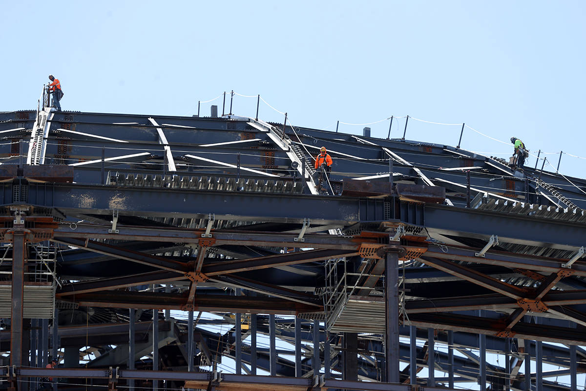 Workers at the MSG Sphere at the Venetian as the structure begins to take shape with the instal ...