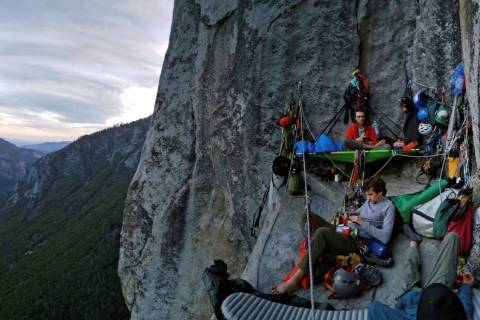 Climbers camp on a big wall on El Capitan in Yosemite National Park, Calif. (National Park Serv ...