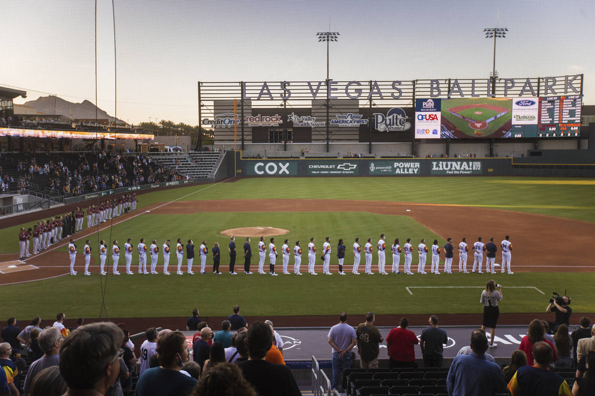 The national anthem is played before the start of a Triple-A baseball game between the Las Vega ...
