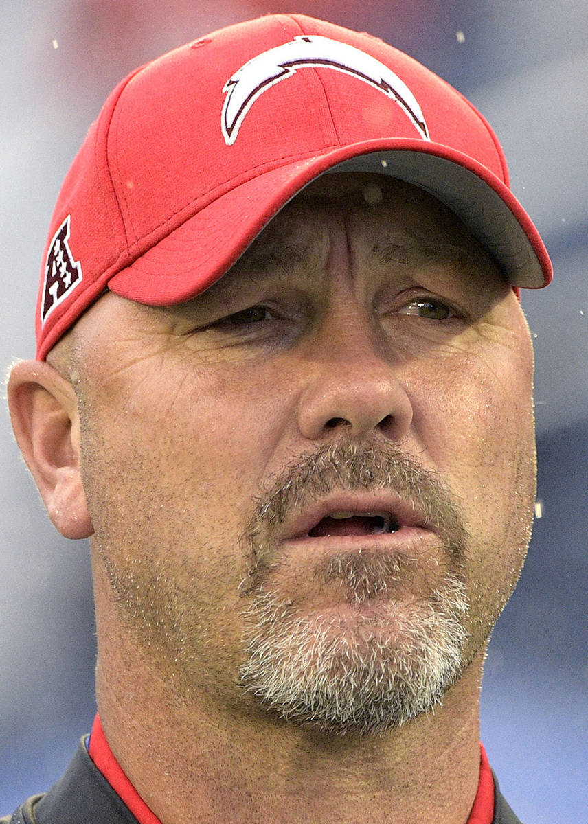 FILE - AFC defensive coordinator Gus Bradley, of the Los Angeles Chargers, watches during the f ...