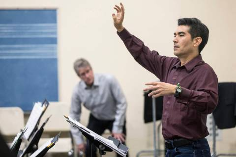 Nathan Tanouye directs the UNLV Jazz Ensemble at the Alta Ham Fine Arts building on Tuesday, Se ...