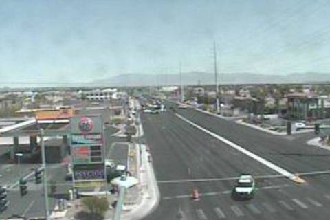 Police investigate a crash Sunday, May 9, 2021, at Rainbow and Sobb avenues in Las Vegas. (Neva ...