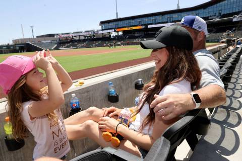 Kelsey Bentley plays with her daughter Kacey, 5, at Las Vegas Ballpark before the Las Vegas Avi ...