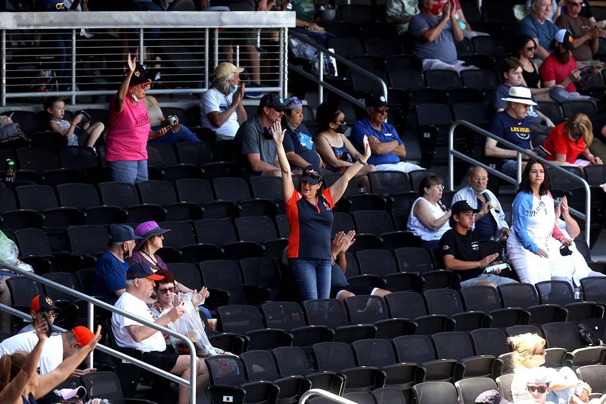 Moms, including Bernadette Anthony, center, are applauded at Las Vegas Ballpark as the Las Vega ...