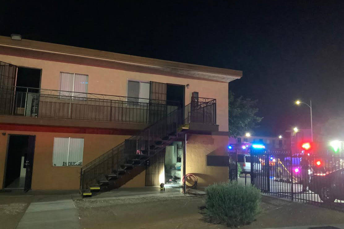 An apartment fire on Sand Dollar Avenue Sunday night displaced three. (Las Vegas Fire Department)