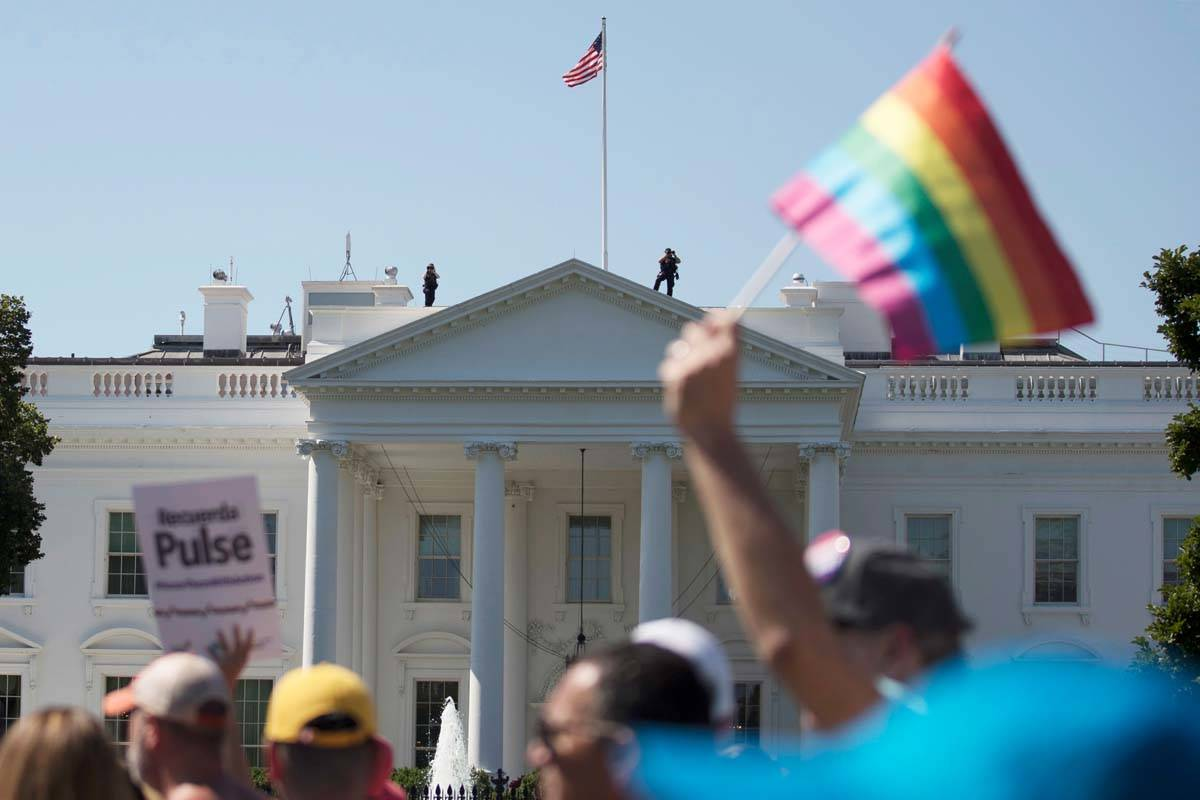In this Sunday, June 11, 2017 file photo, Equality March for Unity and Pride participants march ...