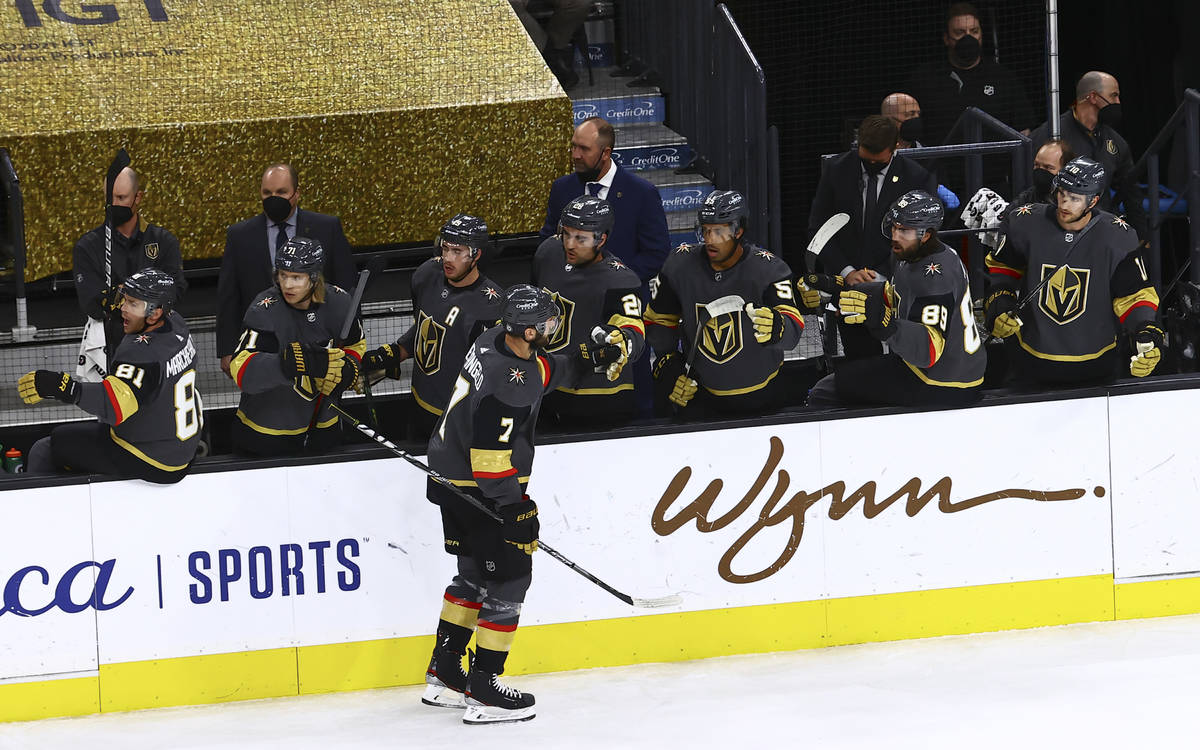 Golden Knights' Alex Pietrangelo (7) celebrates with the bench after his goal against Colorado ...