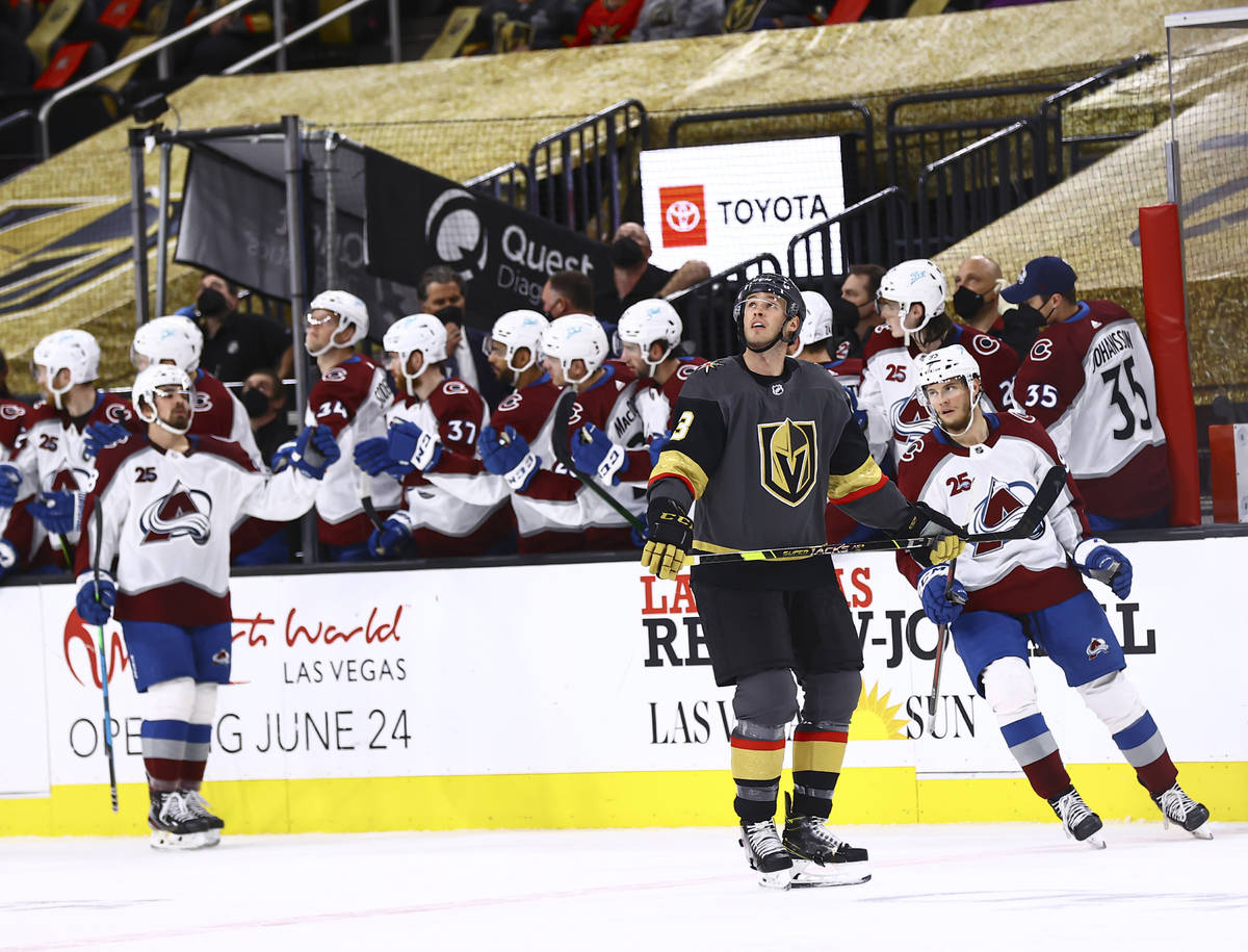 Golden Knights' Brayden McNabb (3) watches a replay after the team gave up a goal to Colorado A ...