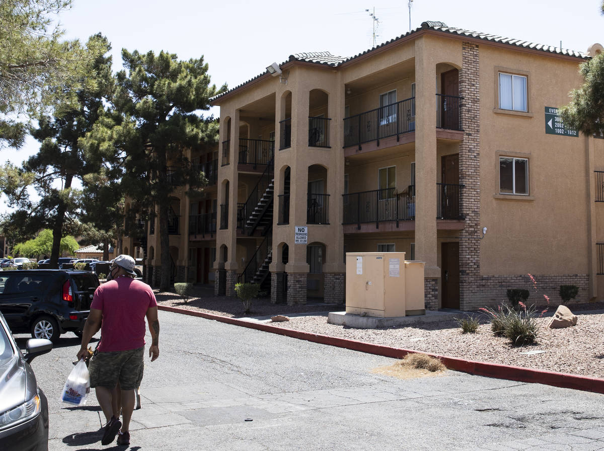 Residents arrive at Emerald Suites on Elm Drive and Paradise Road where Amari Nicholson, a chil ...