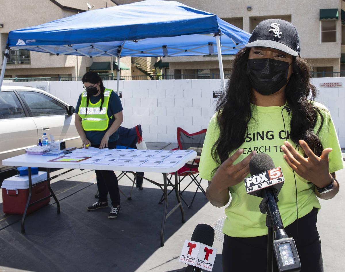 Yolanda Everett, aunt of missing child Amari Nicholson, addresses the media outside of Emerald ...