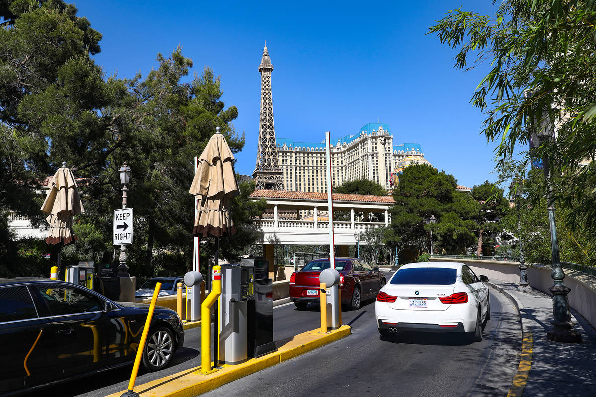 The self-parking garage entrance at the Bellagio in Las Vegas, Monday, May 10, 2021. (Rachel As ...