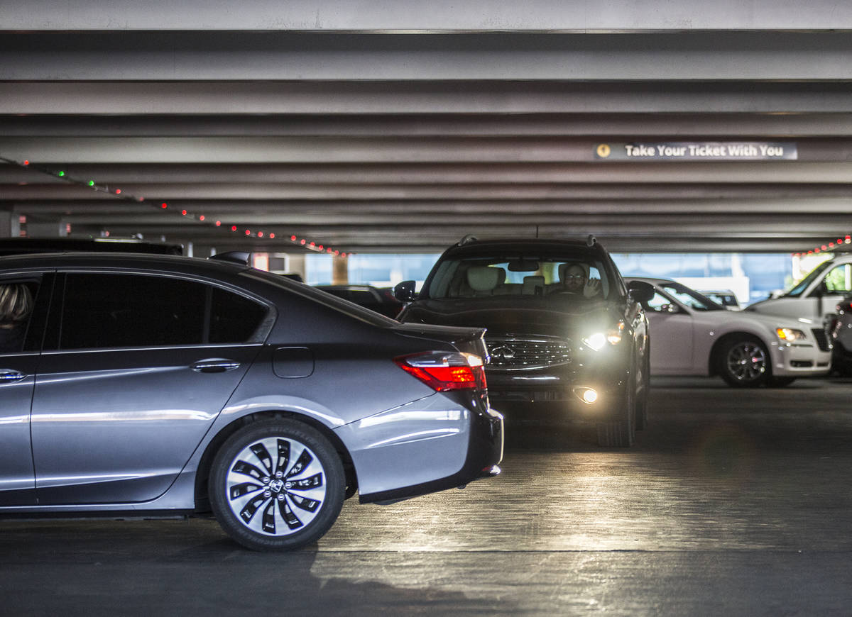 Cars leave the MGM Grand self parking lot on Thursday, May 16, 2019, in Las Vegas. (Las Vegas R ...
