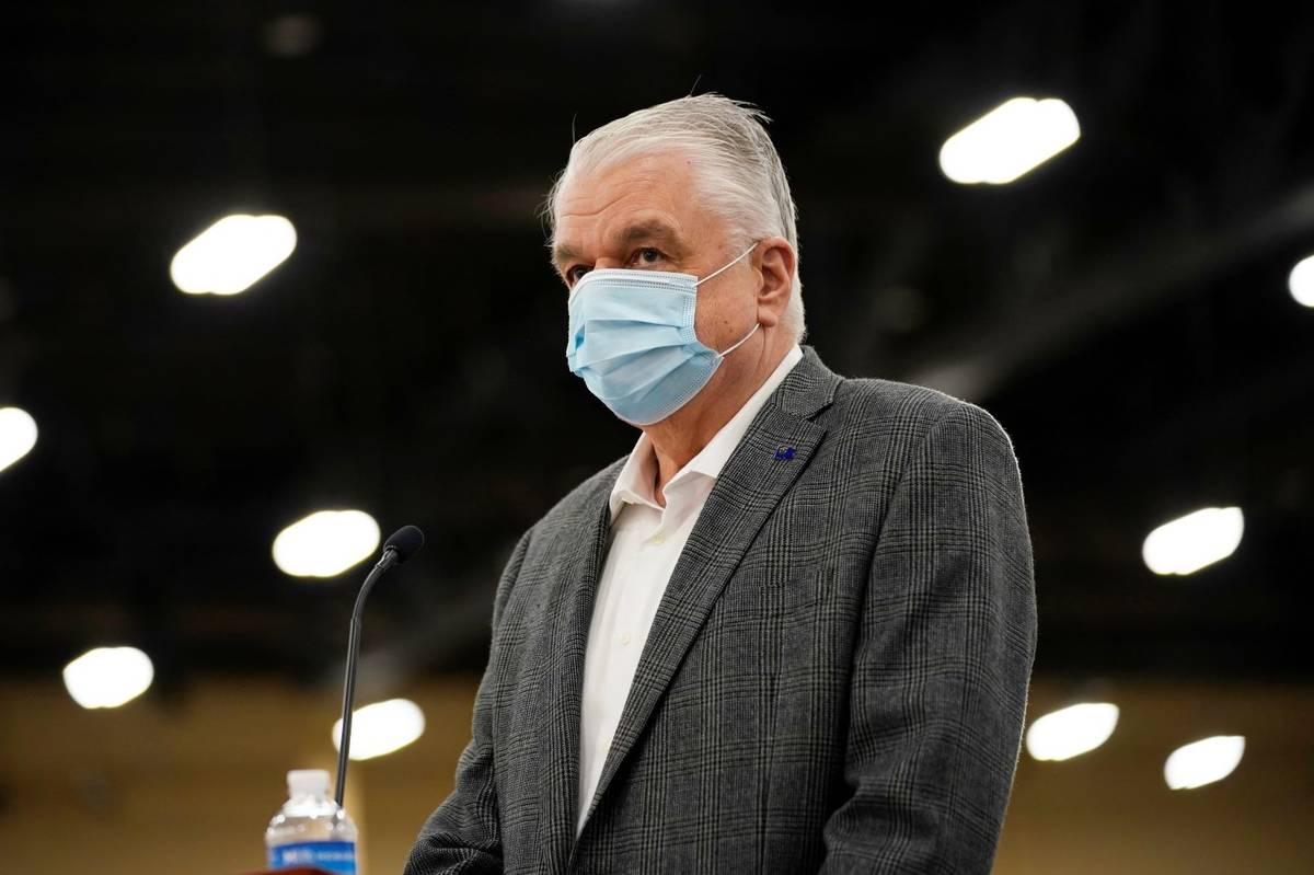 Nevada Gov. Steve Sisolak speaks during a news conference in April 2021 in Las Vegas. (AP Photo ...