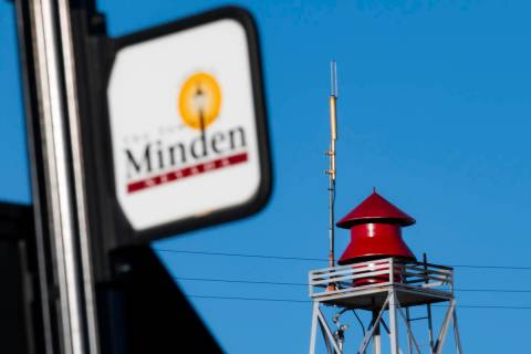 The siren in Minden pictured on May 11, 2021. (Colton Lochhead/Las Vegas Review-Journal)
