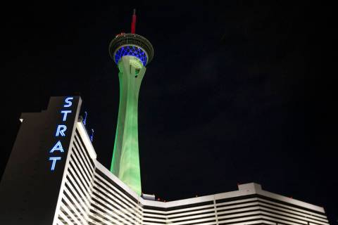 The STRAT is lit green on St. Patrick's Day on Wednesday, March 17, 2021, in Las Vegas. (Ellen ...