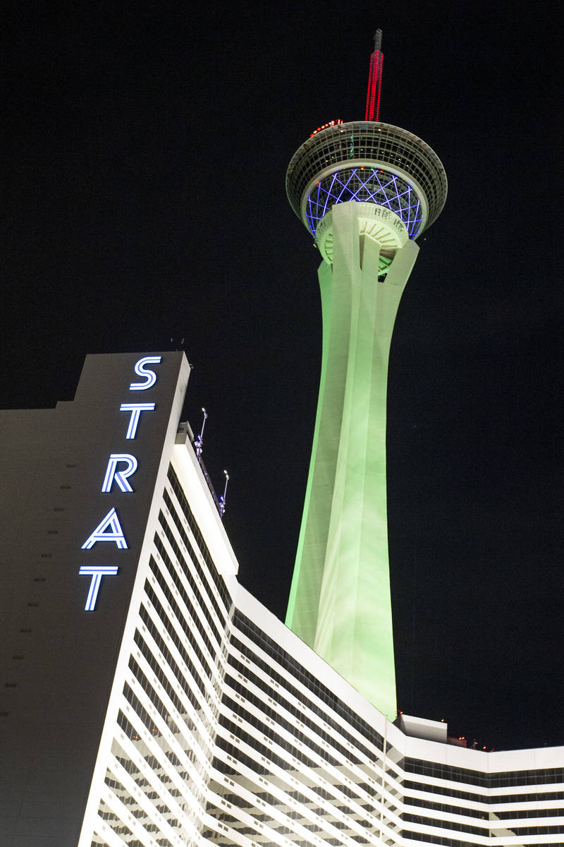 The STRAT is lit green for St. Patrick's Day on Wednesday, March 17, 2021, in Las Vegas. (Ellen ...