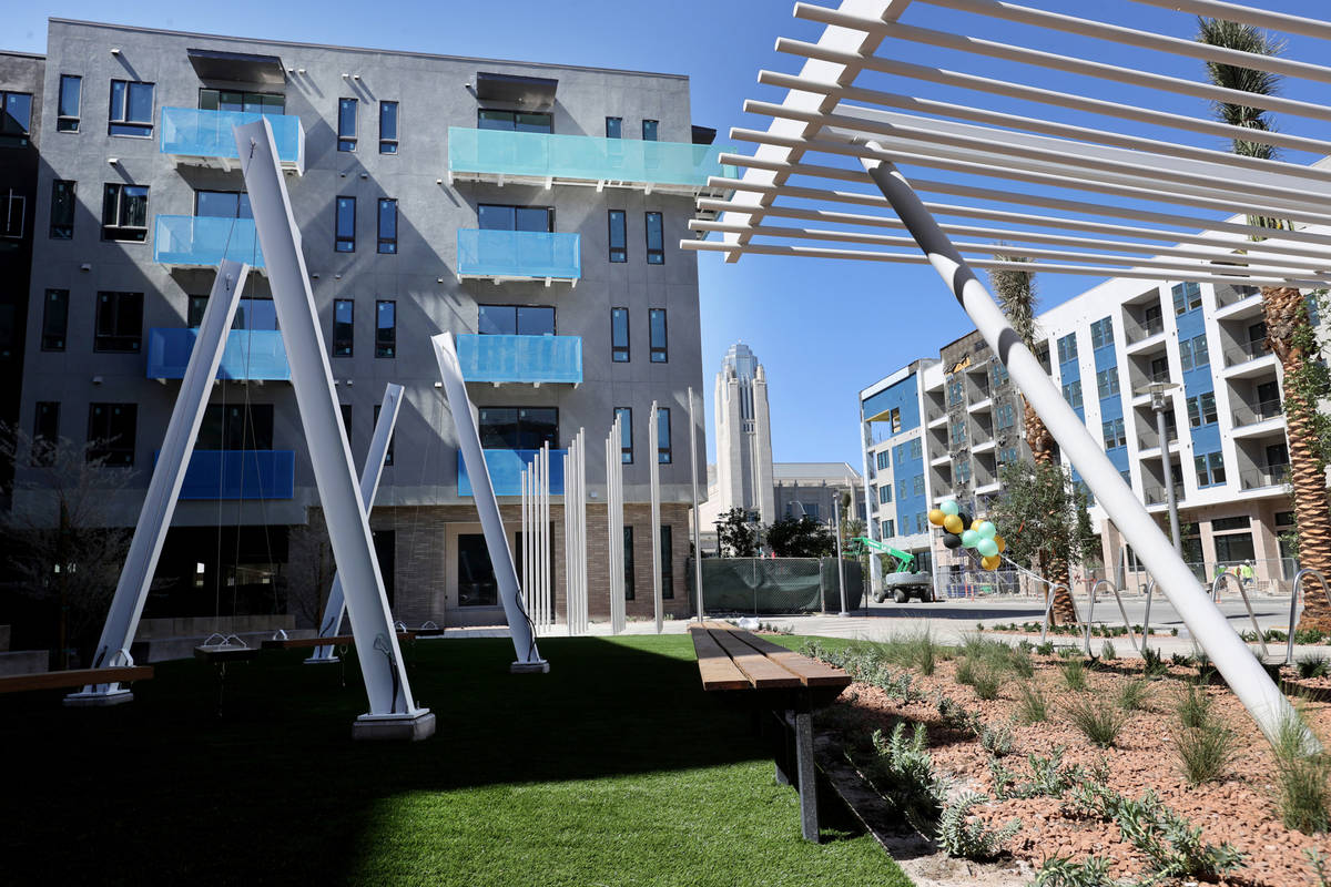 The front courtyard at Parc Haven apartment complex at Symphony Park in downtown Las Vegas duri ...