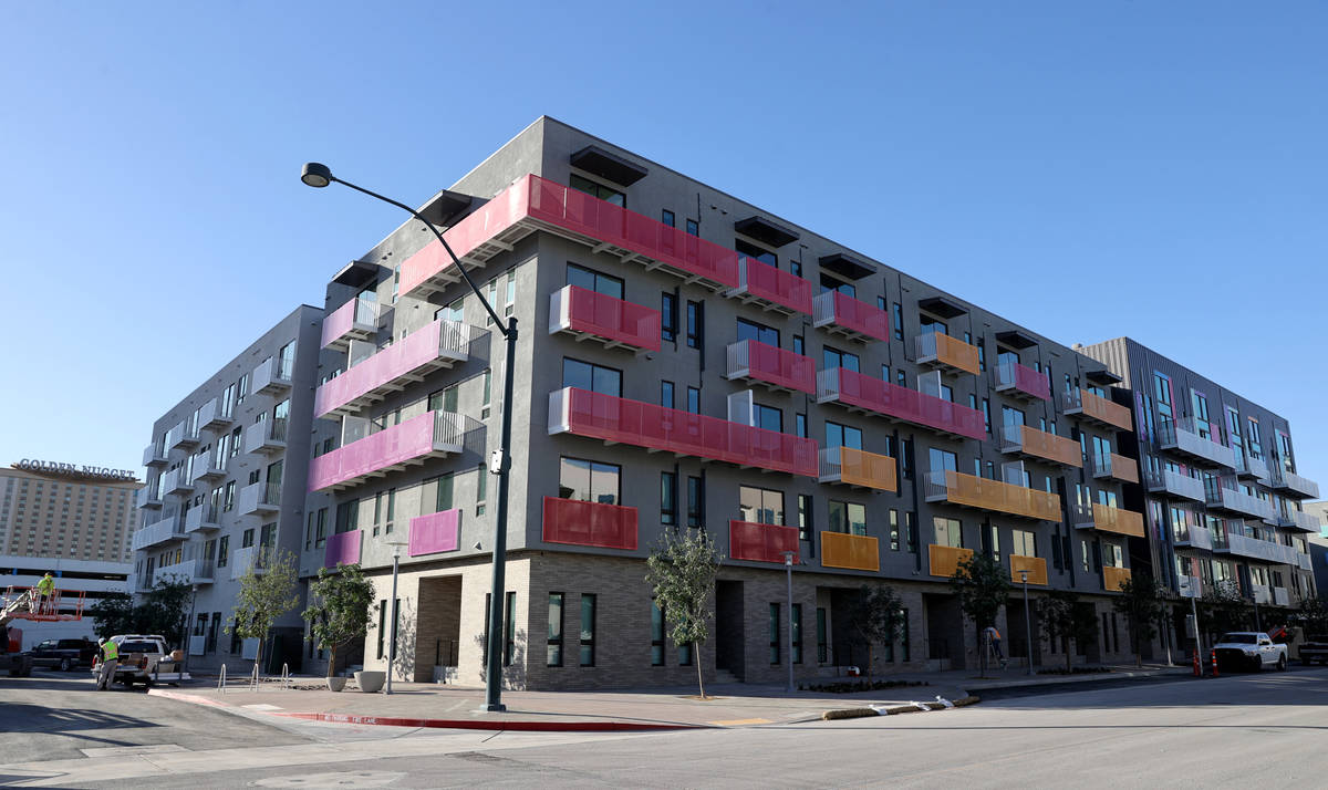 Parc Haven apartment complex at Symphony Park in downtown Las Vegas Tuesday, May 11, 2021. (K.M ...