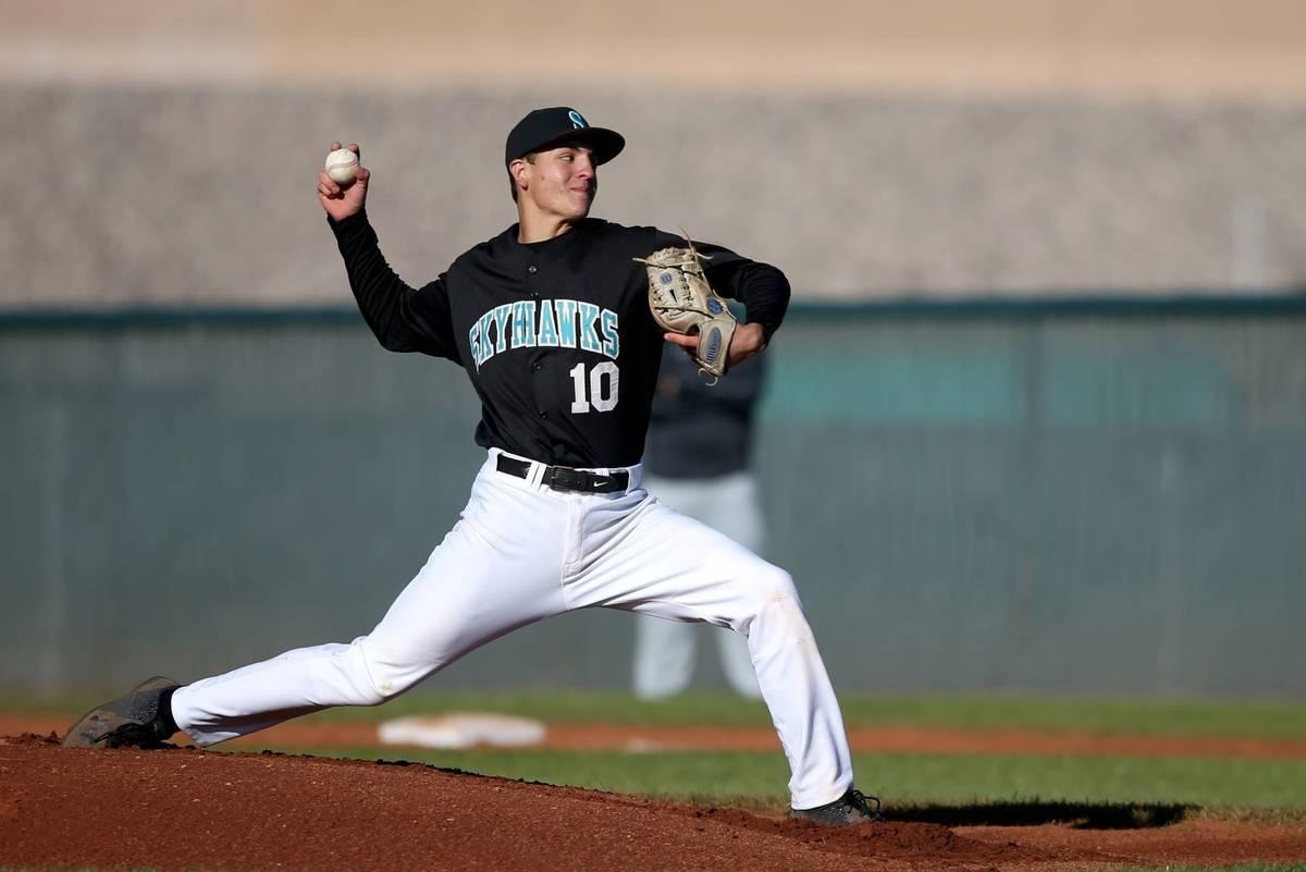 Silverado pitcher Chris Cortez, seen in 2019. (K.M. Cannon/Las Vegas Review-Journal)