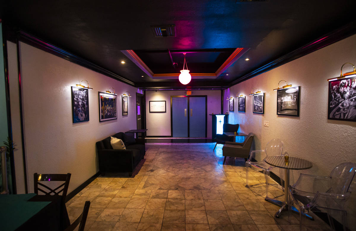 An interior view of the doors leading to the supper club showroom at The Nevada Room at Commerc ...