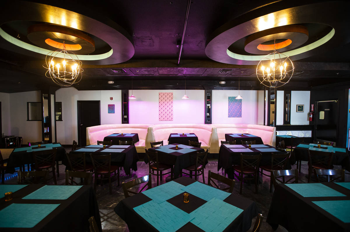 An interior view of the piano bar bistro room at The Nevada Room at Commercial Center in Las Ve ...