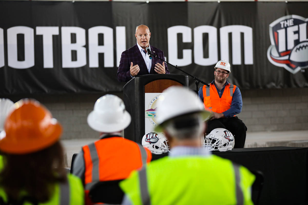 Indoor Football League Commissioner Todd Tryon addresses the audience at an event to announce t ...