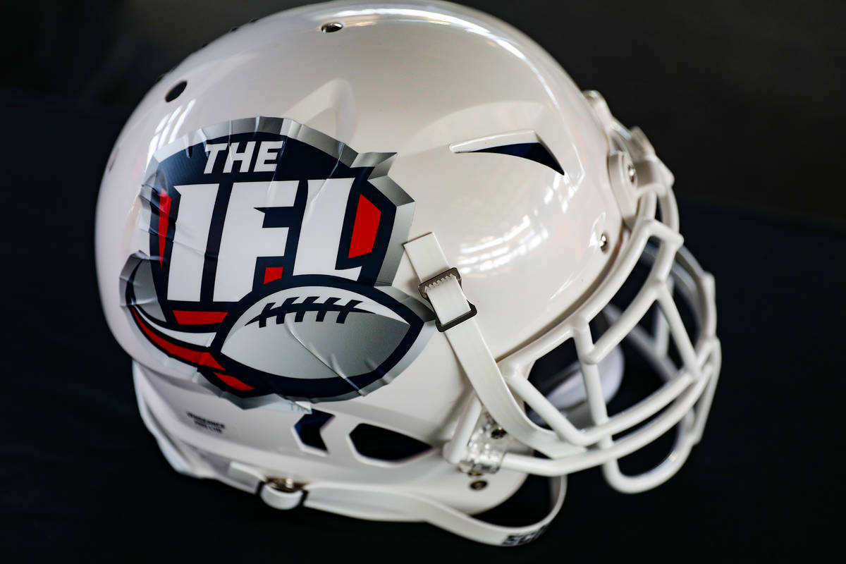 A helmet with the Indoor Football League logo at an event to announce that the Golden Knights h ...