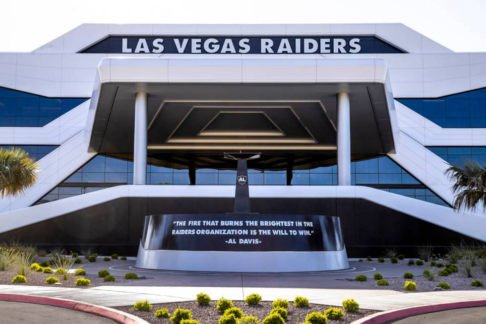 Front entrance of the Las Vegas Raiders headquarters on Wednesday, April 14, 2021 in Henderson. ...