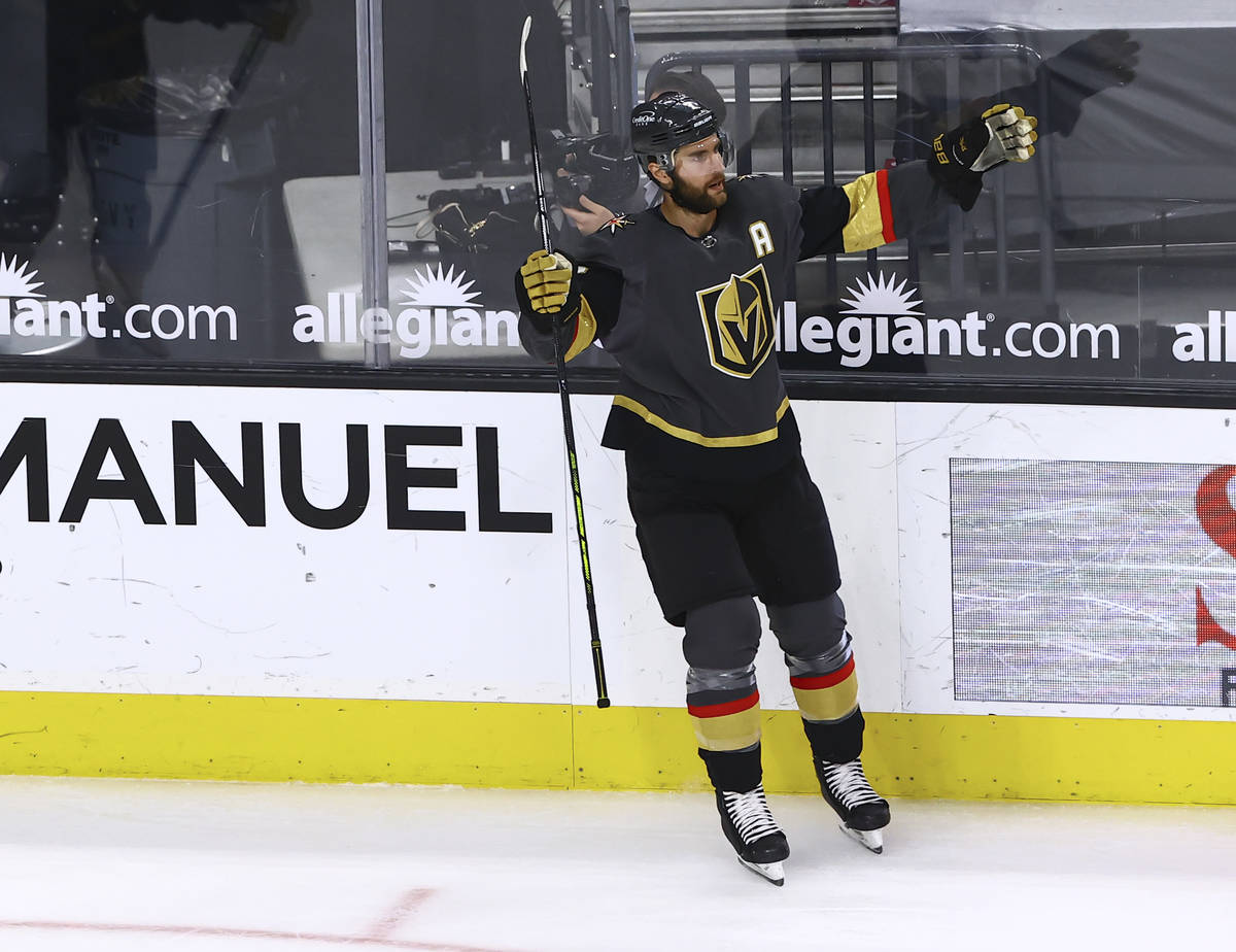 Golden Knights' Alex Pietrangelo celebrates after his goal against Colorado Avalanche during th ...