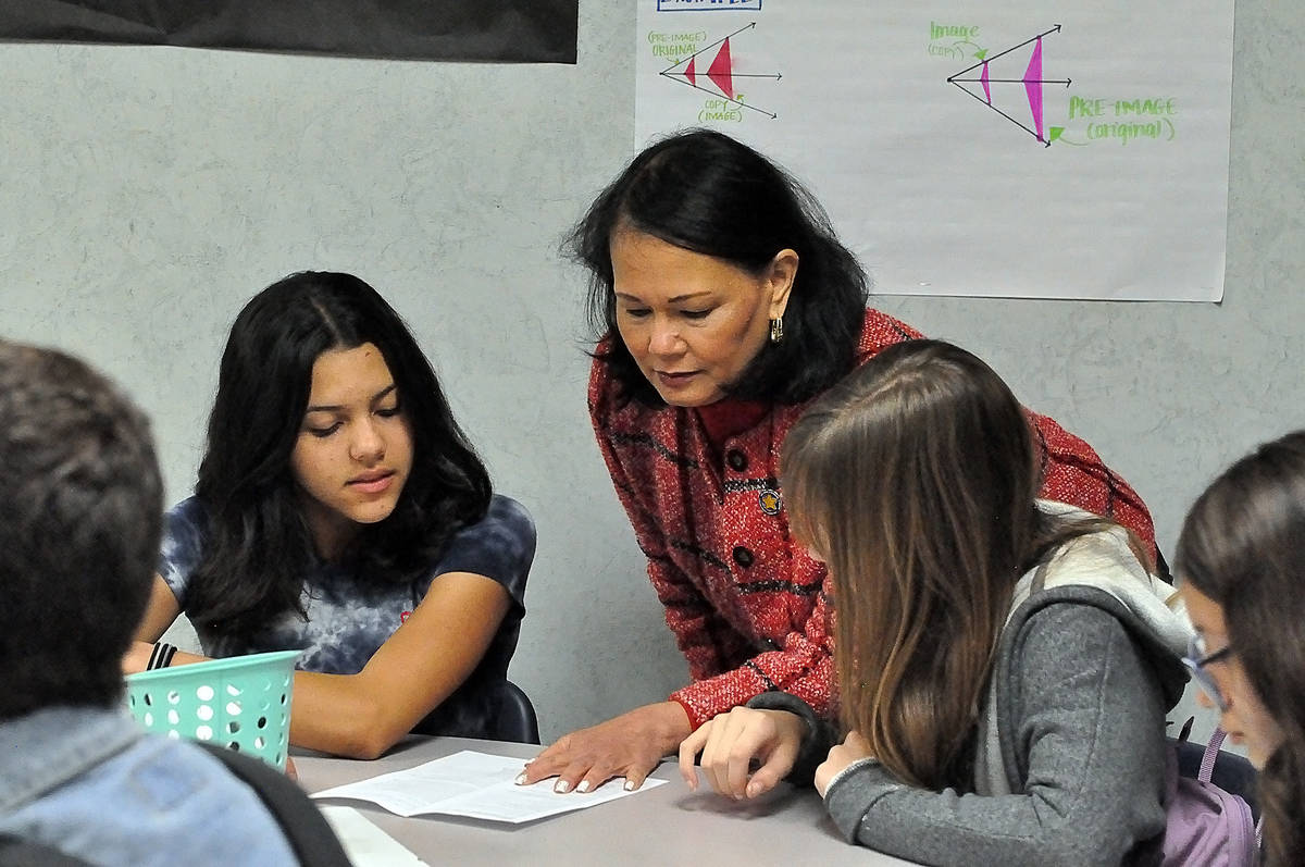 State Education Superintendent Jhone Ebert spends time with students at Rosemary Clarke Middle ...