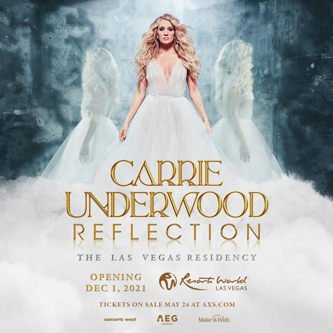 """Carrie Underwood's """"Reflection"""" is booked at The Theatre at Resorts World runs Dec. 1, 3-4, 8, ..."""
