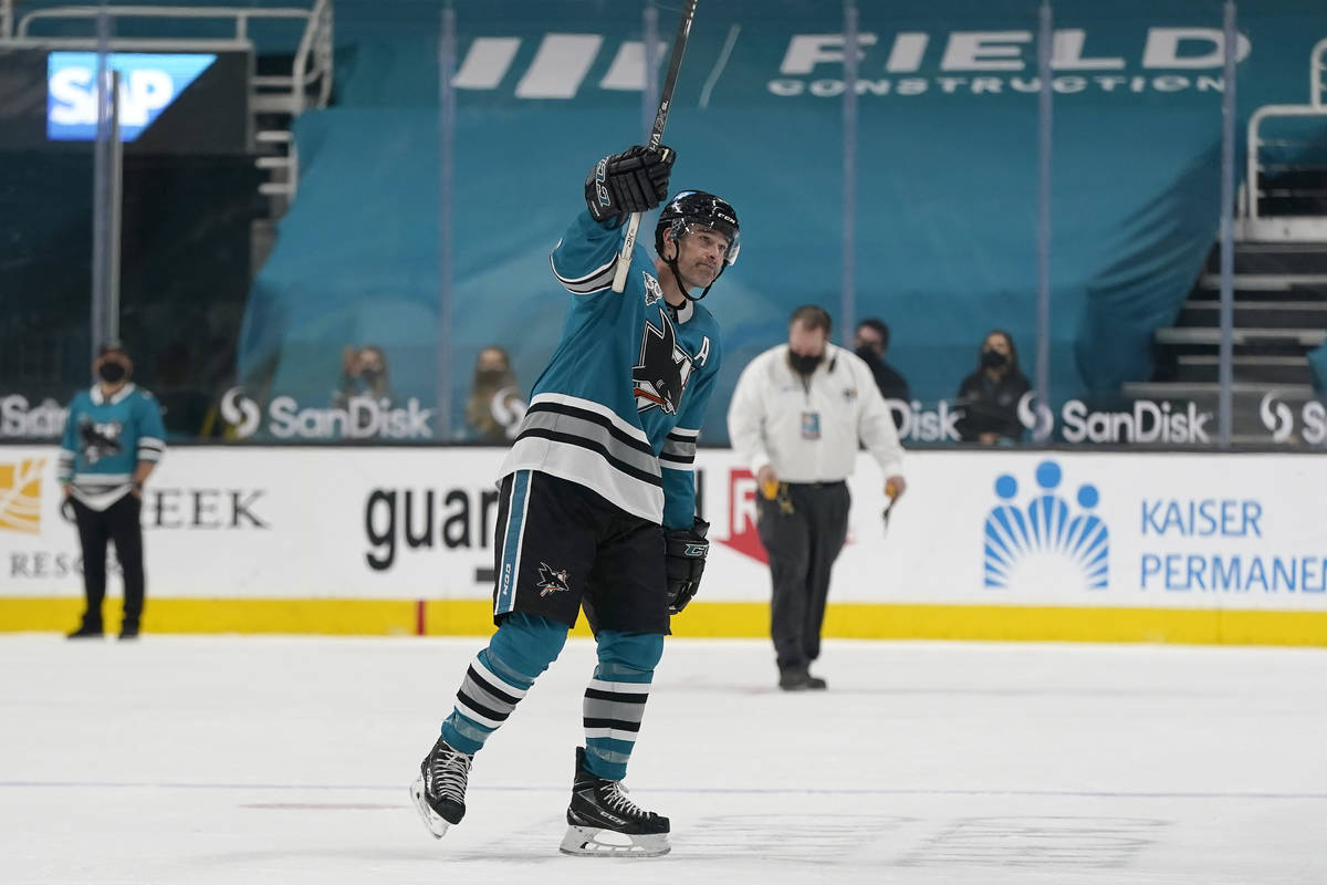 San Jose Sharks center Patrick Marleau waves to fans after the Vegas Golden Knights defeated th ...