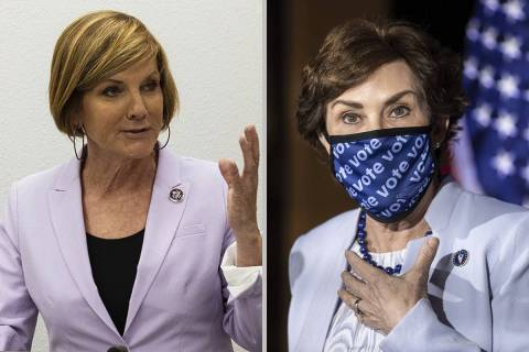 Rep. Susie Lee, left, and Sen. Jacky Rosen, both Nevada Democrats, filed similar bills in the H ...