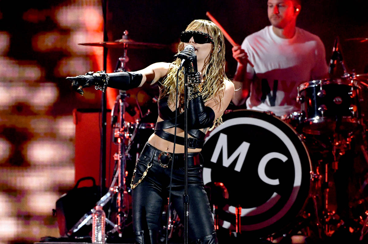 Miley Cyrus performs onstage during the 2019 iHeartRadio Music Festival at T-Mobile Arena on Se ...