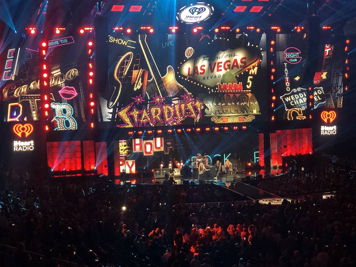 Def Leppard's stage set is shown at iHeartRadio Music Festival at T-Mobile Arena in Las Vegas, ...
