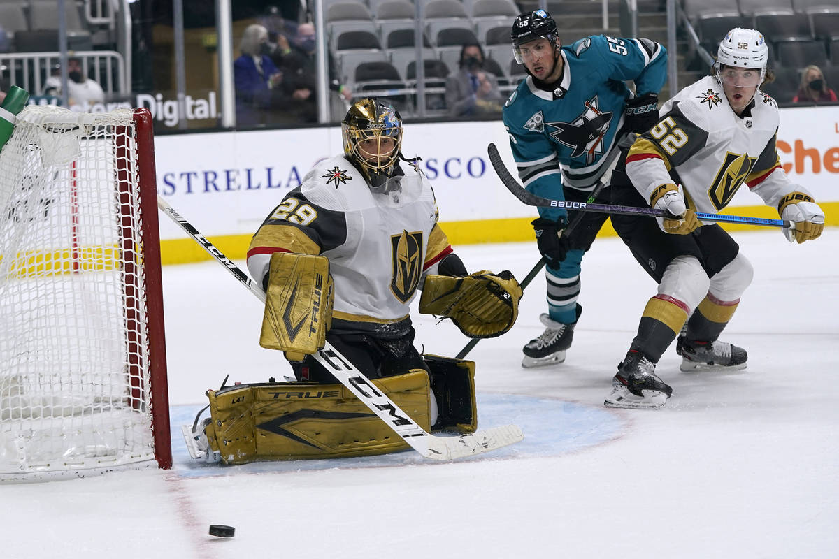 Vegas Golden Knights goaltender Marc-Andre Fleury (29) watches the puck during the third period ...