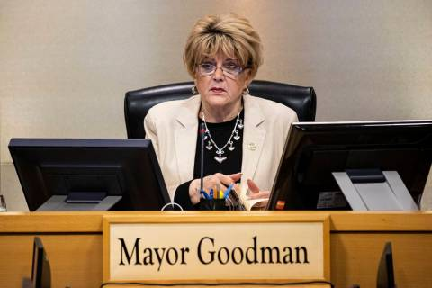 Las Vegas Mayor Carolyn Goodman speaks during a Las Vegas City Council meeting in Las Vegas on ...