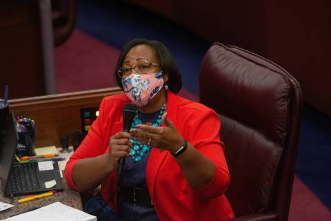 Assemblywoman Daniele Monroe-Moreno on Friday, July 31, 2020 during the first day of the 32nd S ...