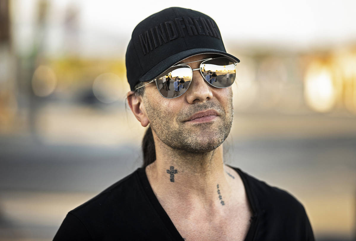 Criss Angel outside Sugar's Home Plate on Tuesday, May 11, 2021, in Overton, Nev. (Benjamin Hag ...
