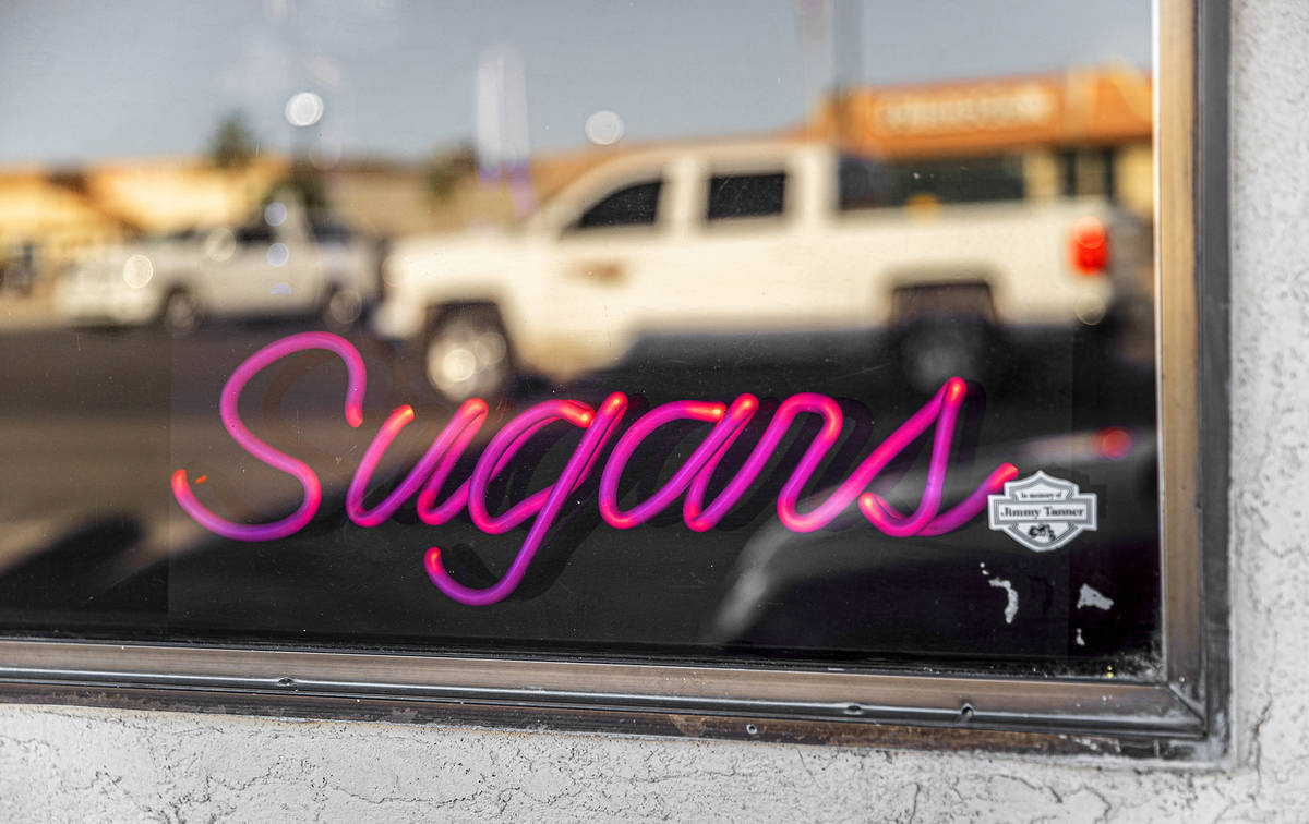 Signage for Sugar's Home Plate on Tuesday, May 11, 2021, in Overton, Nev. (Benjamin Hager/Las V ...
