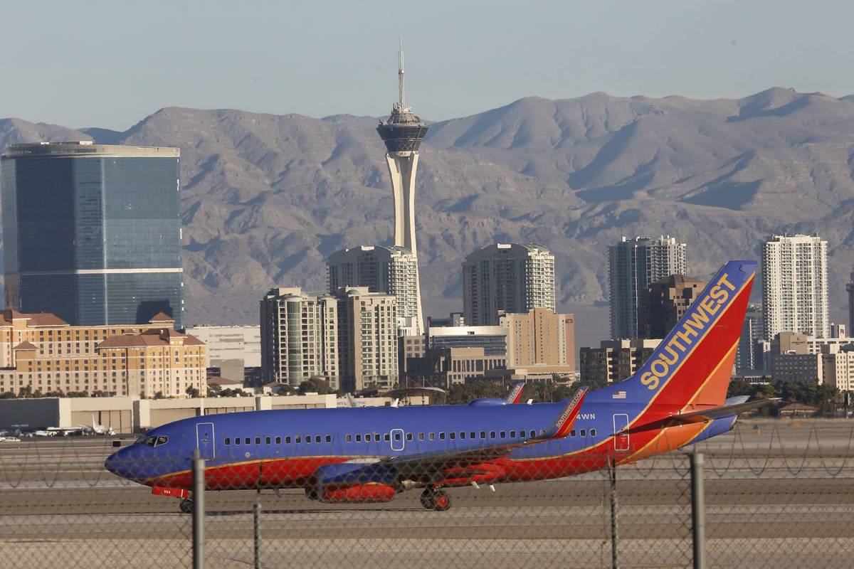 A Southwest Airlines plane taxis after landing at McCarran International Airport in 2017 in Las ...