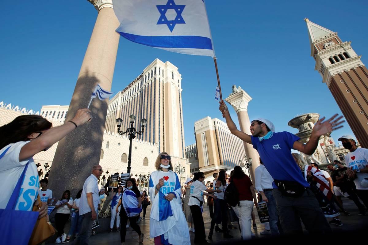 Pro-Israel demonstrators gather outside The Venetian on the Las Vegas Strip, Wednesday, May 12, ...