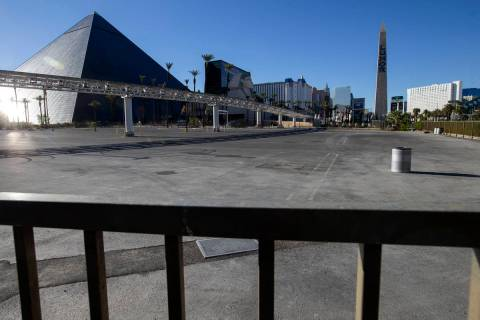 A parking lot where MGM Resorts International plans to host tailgates for Allegiant Stadium eve ...