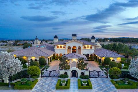 This home at 9405 Kings Gate Court in Queensridge has been listed for $16M. The nearly 3-acre e ...