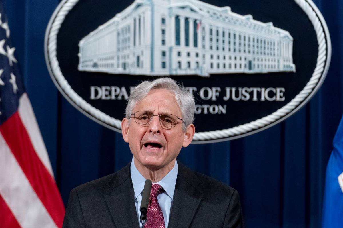 Attorney General Merrick Garland speaks at the Department of Justice, Wednesday, April 21, 2021 ...