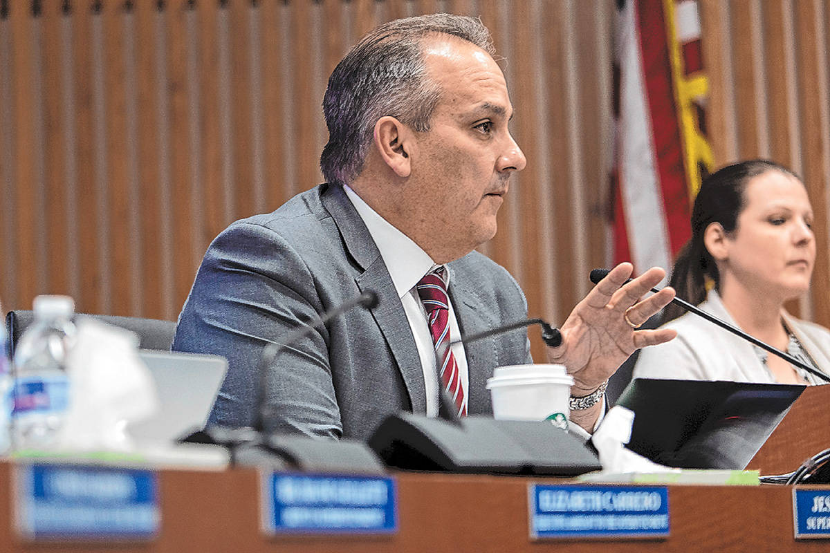 Clark County School District Superintendent Jesus Jara speaks to a panel of health officials ab ...