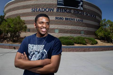 Trelas Dyson, 17, a senior at Shadow Ridge High School in North Las Vegas, was accepted to 59 c ...